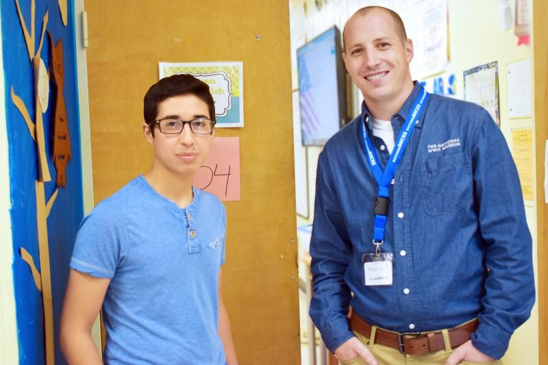 Louis Pozo and U.S. History teacher Bryan Samanich