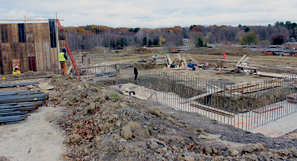 [PIC] A Concrete Foundation Replete With Steel Rebar Stands As The Capital Project Site Work Continues On The Dutchess BOCES Campus