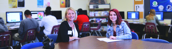 [PIC] Hyde Park CSD Superintendent Dr. Greer Rychcik, and CTI graphic design student Angelica Peterson