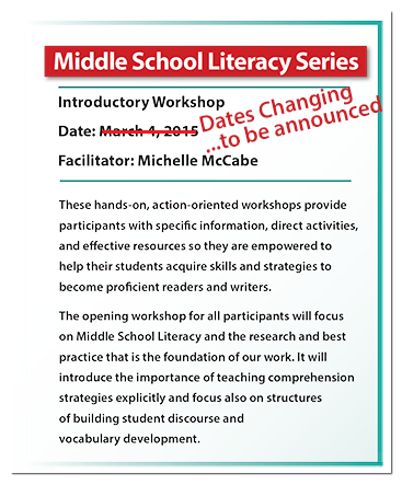 Middle School Literacy info square