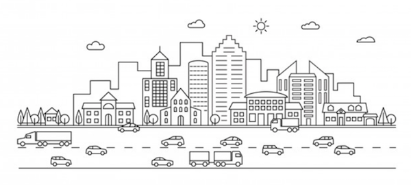 [PIC] Line drawing of cityscape and traffic