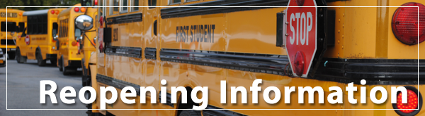 [PIC] Reopening Information Banner Featuring School Buses Lined Up To  Accept Student Passengers