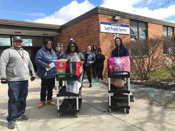 [PIC] Dutchess BOCES staff leave Salt Point Center with food for families of students in various programs.