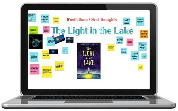 "[PIC] A Laptop Computer Displays The Cover of ""The Light In The Lake"" by Sarah R. Baughman and Subsequent Student Comments As Post It Notes"