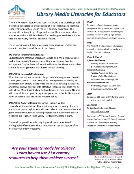 Library Media Literacies for Educators flyer