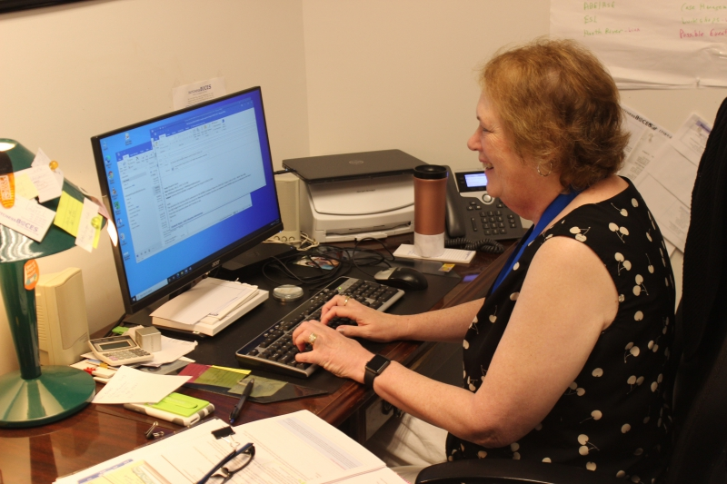 ALI Administrator Elizabeth Hayter works in her new office at the Dutchess BOCES Administration building